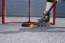 inline hockey player and equipment