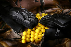 paintball gear - paintball gloves and balls