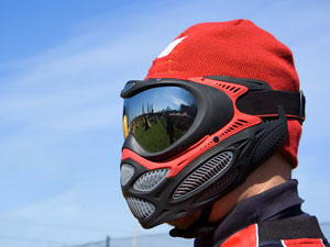 red and black paintball mask