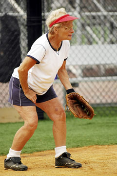 senior softball player